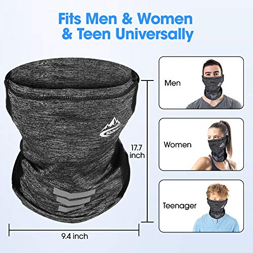 SKL Neck Gaiter, Face Cover Scarf, Sun Protection Breathable Cooling Ice Silk Fabric Reusable Multifunction Headwear Scarf for Outdoor Fishing Hiking Running Cycling(Grey)