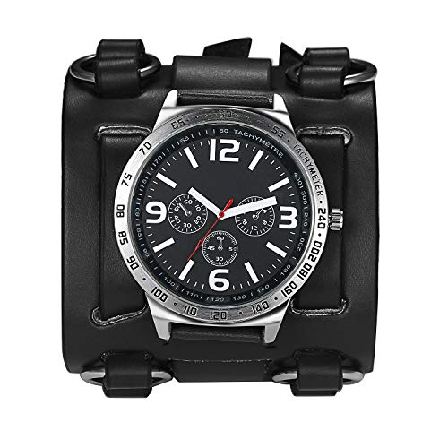 Avaner Mens Retro Steampunk Hip-hop Gothic Brown 74mm Wide Leather Cuff Bracelet Sport Watch Women Big Dial Analog Quartz Wrist Watch (Black)