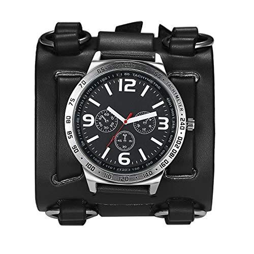 Avaner Mens Retro Steampunk Rock Black Wide Leather Bracelet Cuff Watches Big Face Round Dial Analog Quartz Sport Watch [Upgraded] Japanese Quartz Movement Watch (Black-2)