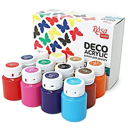 Krevo Art Hochwertige Acryl-Farben, Acrylic Paint, Wasserfest, 12 stark pigmentierte Malfarben je 20ml, Bastelfarben für Papier, Stein, Holz, Ton, Gips, Leinwand