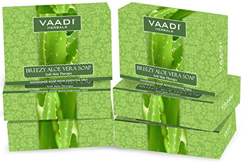 Vaadi Herbals Soap Bar Breezy Aloe Vera Natural Soap For All Skin Type Sulfate Free 6 X 75 G