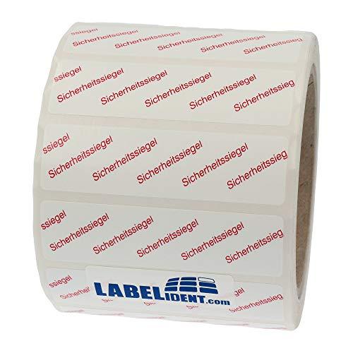 Labelident Siegeletiketten 65 x 17 mm - Sicherheitssiegel - 1000 Sicherheitssiegel Etiketten auf 1 Rolle(n), 3 Zoll Rollenkern, Dokumentenfolie weiß