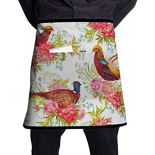 Katrine Store dla ptaków z tkaniny bażanty i kwiaty akwarela ilustracja spersonalizowany fartuch o połowie długości z kieszeniami unisex do kuchni restauracji grilla