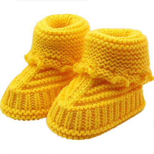 Babyschuhe Mädchen Winter Warme Kleinkind Neugeborenes Baby Strickspitze Häkelschuhe Schnalle Handwerk Gestrickte Schuhe Indoor Krabbelschuhe Winterschuhe Wärmeschuhe Riou