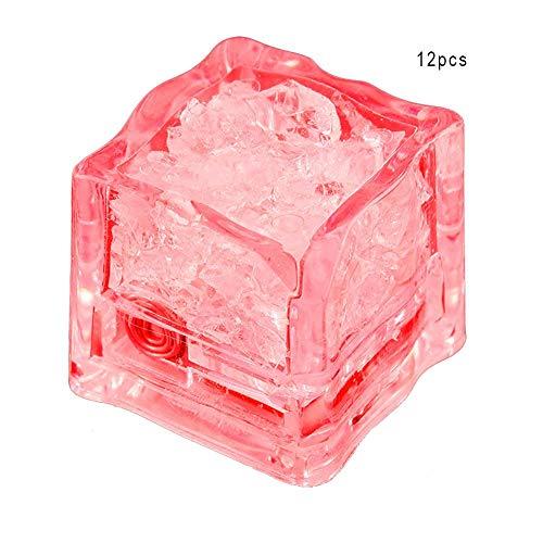Jeffergarden 12Pcs Sensore di Liquido colorato LED Cubetti di Ghiaccio Luce LED Bagliore di Luce Bere Vino Festa Nuziale Cubo di Ghiaccio Decorativo(Rosso)