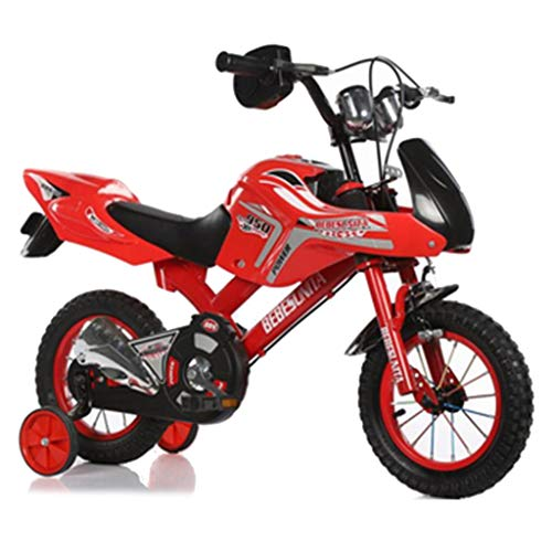 Bicicletas niños de la Motocicleta Harley Forma Carretera Aire Libre Apto for niños Menores de 10 años (Color : Red, Size : 21in)