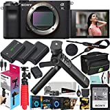 Sony a7C Mirrorless Full Frame Camera Interchangeable Lens Body Only Black ILCE7C/B Bundle with Vlogger Kit ACCVC1 GP-VPT2BT Shooting Grip w. Wireless Remote + 2 Battery + Deco Gear Bag & Accessories