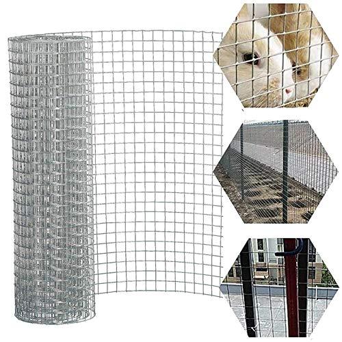 Malla de alambre, malla de alambre soldada galvanizada, valla de malla de alambre de 0,9 mm. Tamaño: 2,5 x 2,5 cm. Protección de gallinero, verduras, frutas, conejo, jardín de serpiente. 0,61 x 15 m.