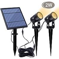 2-Pack Aponuo LED Solar Spotlight for Outdoor Garden Yard Landscape Downlight Warm (White)