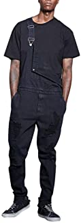 LUCKME Men Dungarees Jean with Holes Pink Jumpsuit Plain Bib Overalls Multi-Pocket Brace Overalls Slim Fit Fashion Casual ...