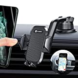 Andobil Car Phone Mount Easy Clamp, Dashboard Windshield Air Vent Cell Phone Holder Anti-Shake Strong Suction Universal Cradle Compatible With iPhone 11 Pro Max/XS/SE/7/8 Plus, Samsung S20+/Note 10/S9