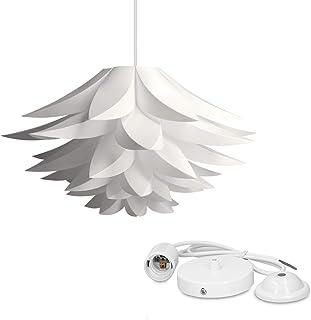 kwmobile Lampe design lotus - Abat-jour XL à monter - Luminaire IQ plafond - Ensemble avec montage plafonnier câble 90cm d...