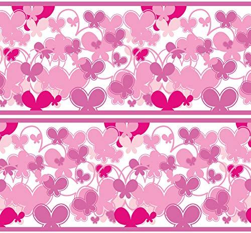 Selbstklebende Bordüre Schmetterlinge Pink, 4-teilig 560x15cm, Tapetenbordüre, Wandbordüre, Borte, Wanddeko,Muster, rosa