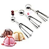 <span class='highlight'><span class='highlight'>Linwnil</span></span> Stainless Steel Ice Cream Scoop Set with Trigger 3pcs 4/5/6cm Size Ice Cream Ball Mash Food Spoon