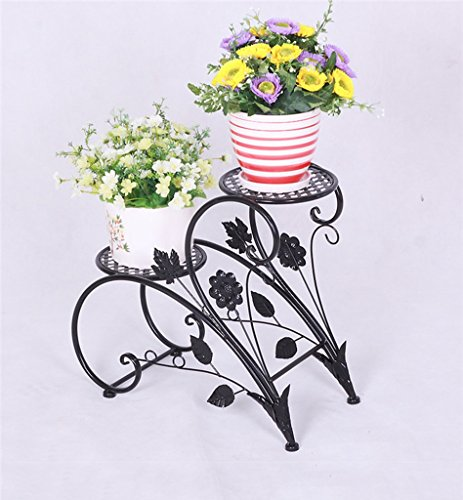 JCRNJSB® Porte-fleurs en fer, style européen rural Double couche Style de sol Porte-pot à fleurs salon intérieur balcon Porte-plaques 45 × 20 × 42cm Pliable, support de fleurs ( Couleur : Noir )