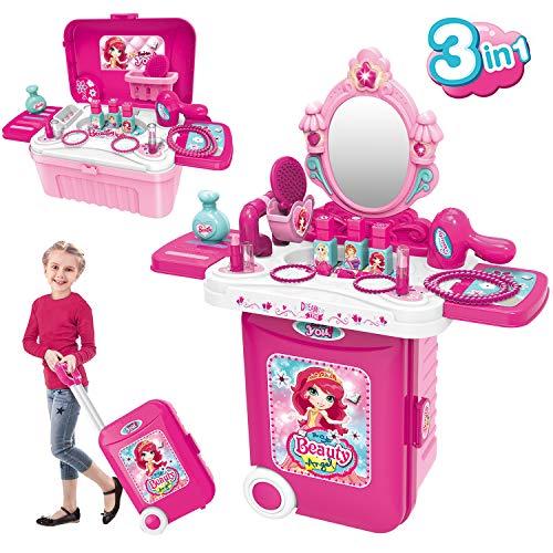 Dreamon Schminkset Rollenspiel Spielzeug 3 in 1 Tragbarer Schminktisch mit Kosmetik Zubehör in...