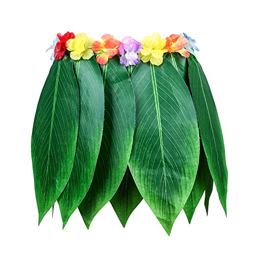 Gaeruite - Falda de hula de hojas hawaianas, falda de hierba hawaiana, disfraz de Hula Lei, disfraz de Hula Dancer para fiesta, tamaño elástico