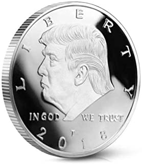 BZTT Commemorative Coin President Donald Trump Challenge Coin Silver Plated, Gift for Friends, Kids, Lovers, Families( Silver)