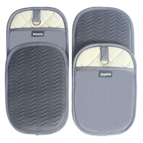 Honla 4 Piece Rectangular Pot Holders with Pockets,Heat Resistant to 500 F,Flexible Non Slip...