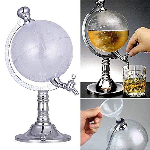 xxz Dispensadores de Licor World Globe, dispensador de Cerveza de Forma Mini con tapón de Embudo de diseño de Grifo, para Bebidas, licores de Vino, Almacenamiento de Bebidas de Whisky, 1500 ml