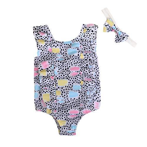 Bañador Trikini de Una Pieza para Niñas, Bañador con Estampado de Mariposas arcoíris niñas