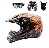 Juego de casco de motocross, unisex, casco de protección para bicicleta de montaña, incluye máscara de protección, guantes (C,M)