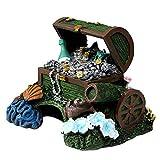YWXKA Adornos de Resina para acuarios, Caja de Cofre del Tesoro Antigua decoración Creativa de pecera, paisajismo acuático Pirata Monedas de Oro joyería