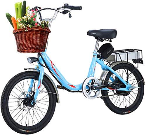 ZJZ Bicicleta de Ciudad para Adultos, Bicicleta eléctrica de 20 '' Batería de Iones de Litio extraíble 48V 10Ah y 300W Motor con Canasta de Bicicleta Freno de Disco Doble