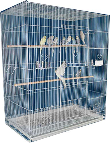 Mcage Large Breeder Breeding Bird Flight Cage for Small Size Aviary Canary Lovebird Budgie Cockatiel Sugar Glider Finch Parakeet (30' x 18' x 36'H, White)