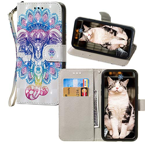 3D Colorful Patterned para For Samsung Galaxy J1 SM-J120 Funda YYT PU Leather Wallet Flip Cover - Colorful Elephants
