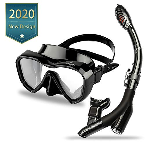 integity Dry Top Snorkel Set - Anti Fog Film Snorkeling Mask with 180° Panoramic Tempered Glass,Latest Dual Valve Free Breathing Anti-Leak Design Dry Snorkel Tube,Snorkeling Gear for Adults and Youth