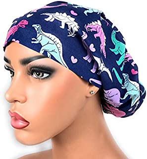 Womens Surgical Scrub Hat OR Nurse Cap Euro Style Girl Dinosaurs and Hearts Bouffant Cap