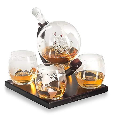 YSYDE Royal Decanters, Etched Globe Whiskey Decanter Gift Set, Met Nieuwste Houten Stand Handgrepen, Ongetwijfeld Verbeter Uw Drinking Experienc Set