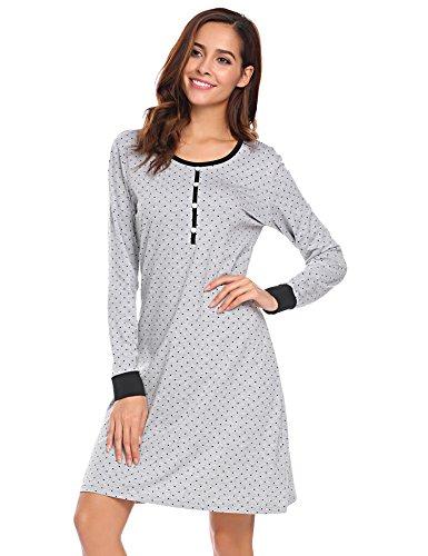 Meaneor Fashion Origin Nachthemd Damen Langarm Baumwolle Schlafanzug Lang Nachtkleider mit Punktmuster Dekoration Knielang Nachtwäsche lang, Grau , Pat1, M