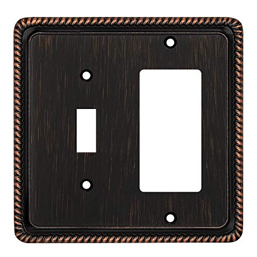 Rope Edge Decorative Wall Plate Switch Plate Outlet Cover (Toggle/Decorator, Aged Bronze)