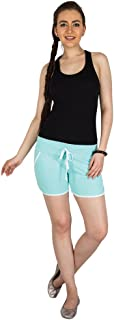 Campus Sutra Light Green Pro Solid Women's Chino Shorts with Tipping Green