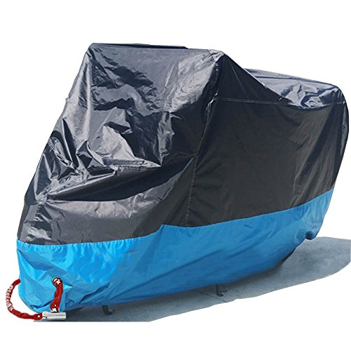 Motorcycle Cover Waterproof Motorbike Scooter Outdoor Shelter All Weather Protection Dustproof with Never Rust Copper Lock Holes Compatible Yamaha Honda Suzuki BMW Black and Blue 90.5'x37'x49' XL