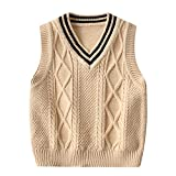 EYIIYE Toddler Baby Boy Knitted Sleeveless Sweater Vest Pullover School Waistcoat Outwear Fall Winter Outfits (A-Apricot, 4-5t)