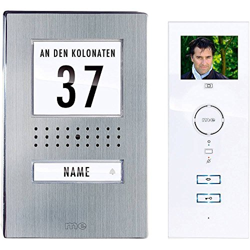 m-e modern-electronics 41135 Video-Türsprechanlage Kabelgebunden Komplett-Set 1 Familienhaus Edelstahl, Weiß