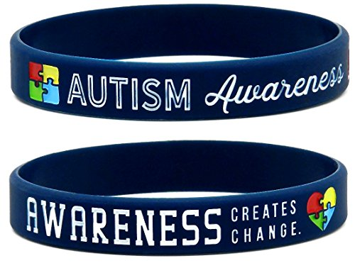 Inkstone Autism Awareness Bracelets, 6-Pack - Silicone Wristbands in Adult Unisex Size