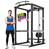 MaxKare Power Cage with LAT Pulldown Attachments | 2.5' Frame 1600 LBS Capacity | Olympic Squat Rack...