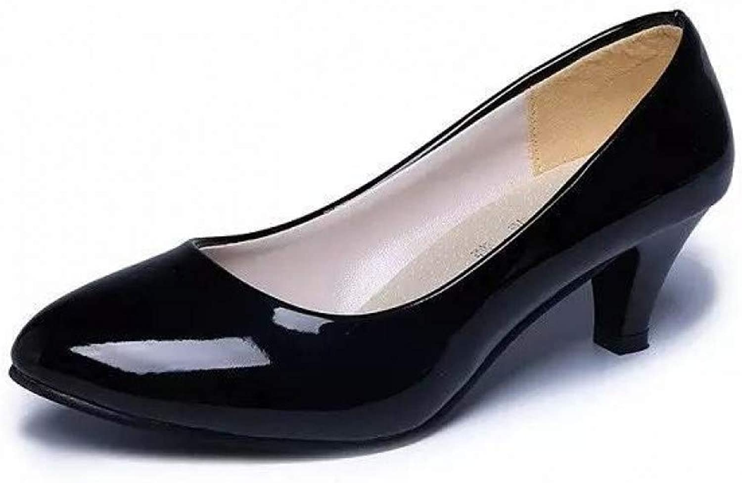 LIHUIYUN shoes Patent Leather Low Heels shoes Women Professional shoes Ladies Shallow Mouth Work shoes Elegant Ladies Office shoes