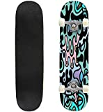 Classic Concave Skateboard Psychedelic Print Modern Seamless Pattern Color, Multicolor Fun Longboard Maple Deck Extreme Sports and Outdoors Double Kick Trick for Beginners and Professionals