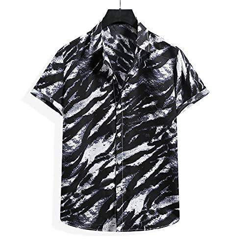 Playa Shirt Hombre Verano Casuales Vacaciones Hombre Casuales Camisa Botón Placket Hombre T-Shirt Estilo Hawaiano Surf Camping Hombre Manga Corta YC02 XL