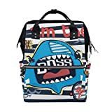ALINLO - Bolsa de pañales con texto 'I Am The Shark de gran capacidad, multifunción, para viajes