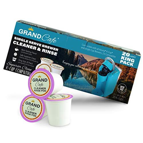 Grand Cafe – Paquete de 20 K-Cup Limpiador y Enjuague para Máquinas de Cervecera Keurig Single Serve – Compatible con 2.0