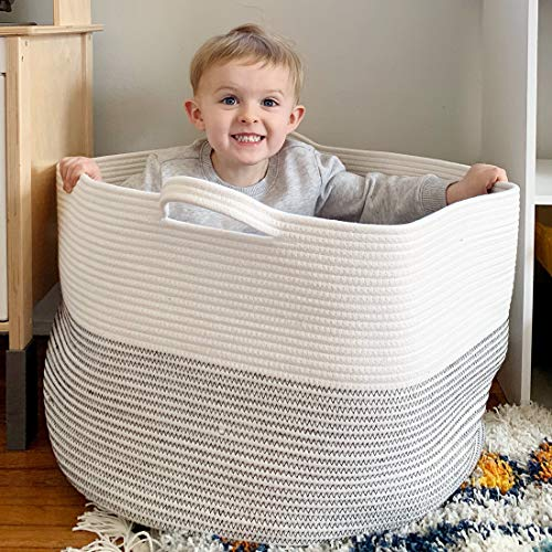 """Goodpick Large Basket 23.6""""D x 14.2""""H Jumbo Woven Basket Cotton Rope Basket Baby Laundry Basket Hamper with Handles for Comforter, Cushions, Quilt, Toy Bins, Brown Stitch"""