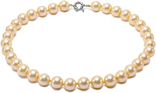 JYX Pearl 12mm Round Seashell Pearl Necklace for Women 18
