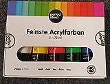 perfect ideaz 5 x 75 ml Acryl-Farbe-Set bunt, 5 Verschiedene Kreativ-Mal-Farben in Tube, hoher Anteil an Farb-Pigmenten, Acrylic Paint hoch-deckend & schnell-trocknend, ideal zum Malen & Zeichnen