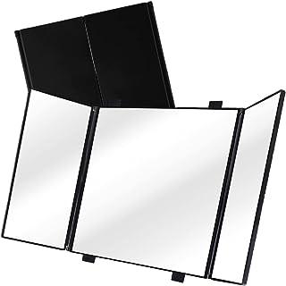 Car Folding Visor Vanity Mirror-Zone Tech Makeup Travel-Cosmetic Tri -Fold Universal Auto Mirror